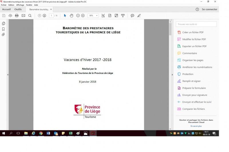 Baromètre touristique des vacances d'hiver 2017-2018 en province de Liège