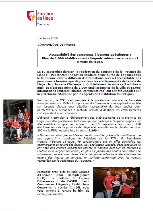 COMMUNIQUÉ DE PRESSE - Accessibilité : la FTPL référence plus de 1.000 établissements - 05.10.2018