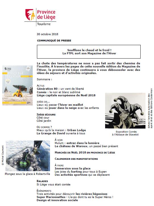 Communiqué de presse - La FTPL sort son Magazine de l'Hiver - 30.10.18