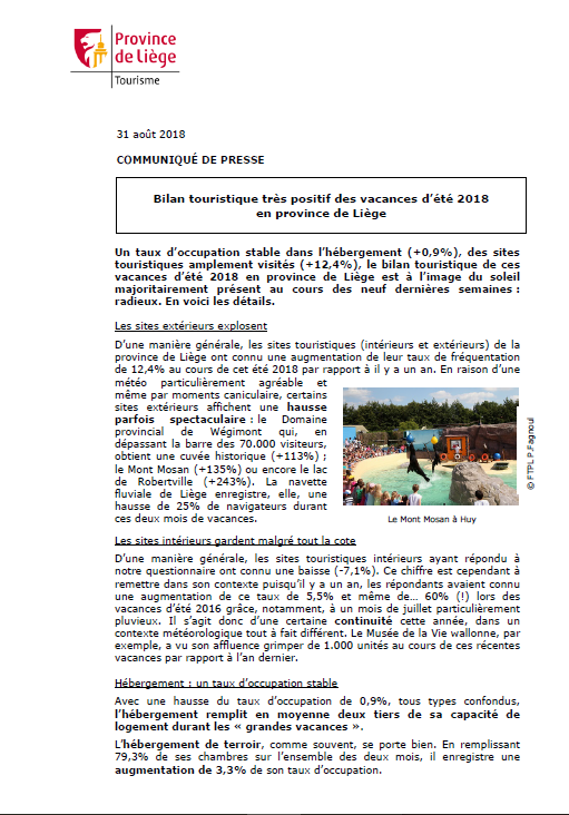 Communiqué de presse - Bilan touristique des vacances d'été 2018 en province de Liège - 31.08.18