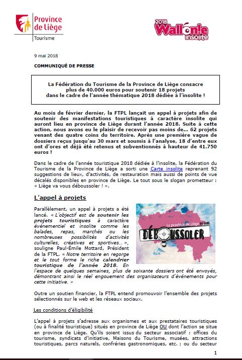 COMMUNIQUÉ DE PRESSE - La FTPL soutient 18 projets insolites ! - 09.05.18