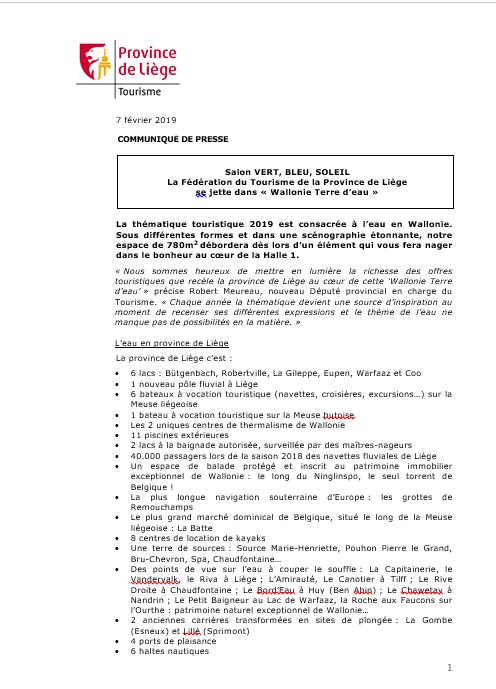 Communiqué de presse - La FTPL sur le salon VERT BLEU SOLEIL 2019 - 07.02.19