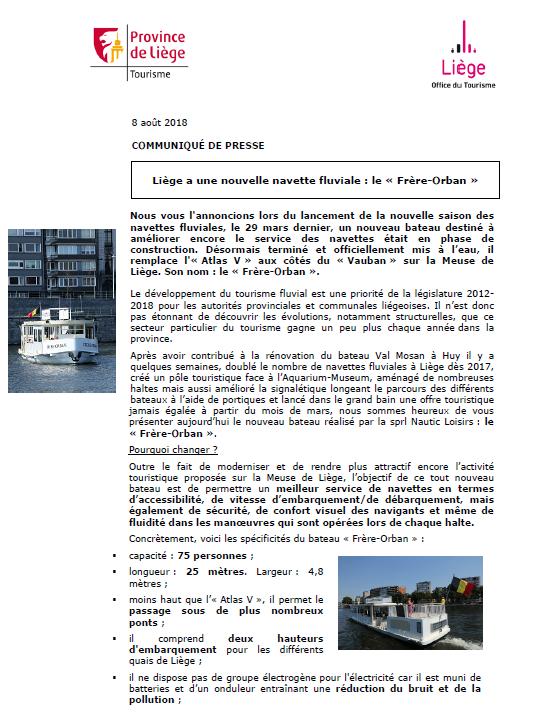 COMMUNIQUÉ DE PRESSE - Nouvelle navette fluviale à Liège - 08.08.18