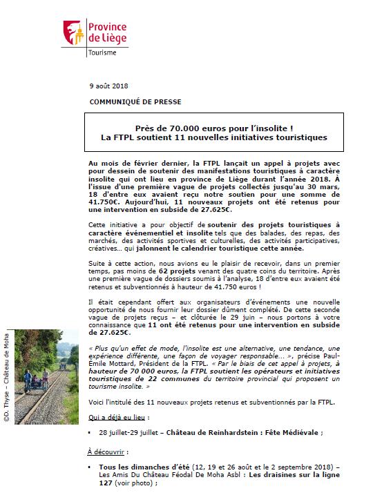 COMMUNIQUÉ DE PRESSE - Près de 70.000 euros ! La FTPL soutient 11 nouvelles initiatives touristiques insolites - 09.08.18
