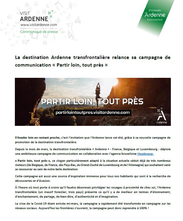 COMMUNIQUÉ DE PRESSE - Partir loin, tout près Campagne de la destination Ardenne transfrontalière