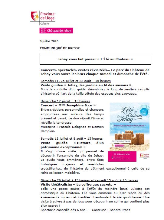 COMMUNIQUÉ DE PRESSE - Jehay vous fait passer « L'Été au Château »