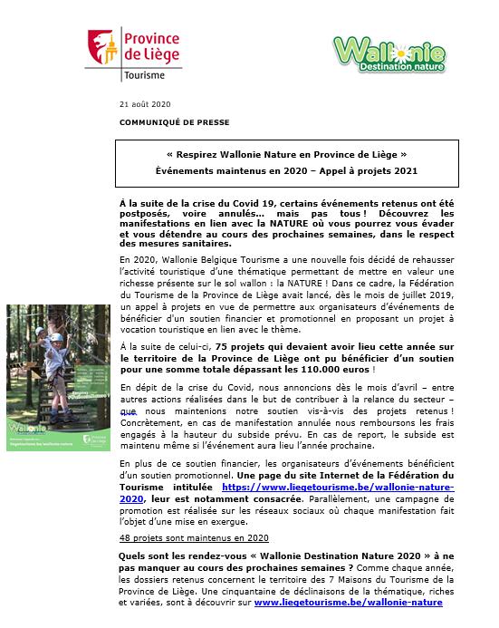COMMUNIQUÉ DE PRESSE - Respirez Wallonie Nature 2020/2021 en Province de Liège