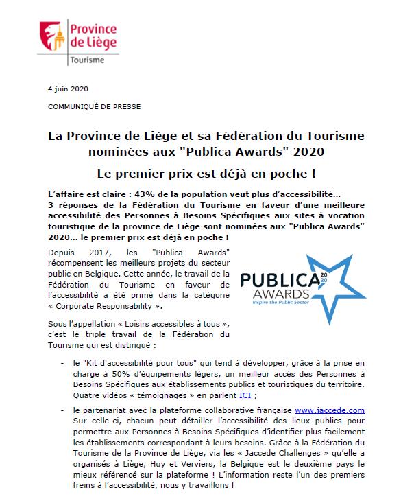 COMMUNIQUÉ DE PRESSE - La Fédération du Tourisme primée aux Publica Awards - 04.06.20