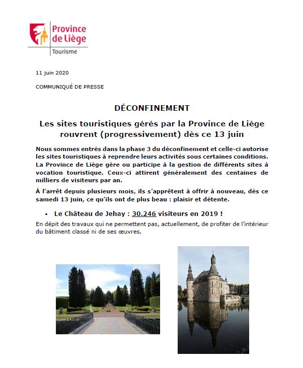 Les sites touristiques gérés par la Province de Liège rouvrent ce 13 juin