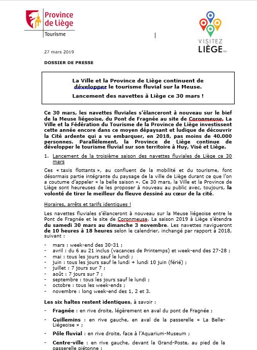 DOSSIER DE PRESSE - Tourisme fluvial 2019 en province de Liège