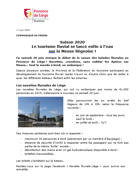 COMMUNIQUÉ DE PRESSE - Le tourisme fluvial se lance enfin à l'eau sur la Meuse liégeoise