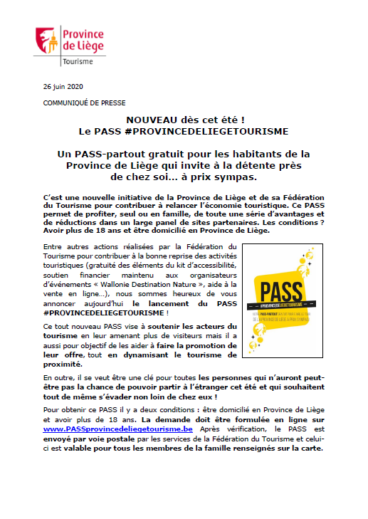 COMMUNIQUÉ DE PRESSE - NOUVEAU dès cet été ! Le PASS #PROVINCEDELIEGETOURISME