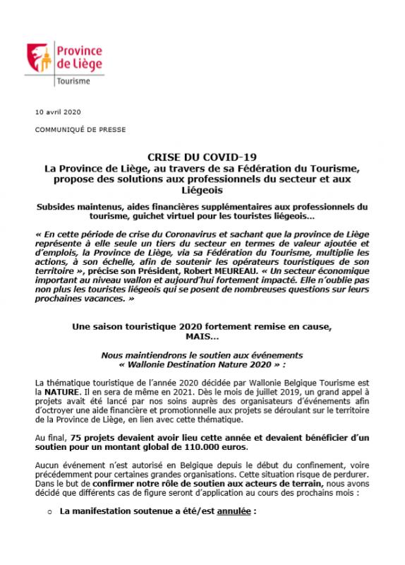 COVID19 - Des solutions proposées aux professionnels du secteur et aux Liégeois