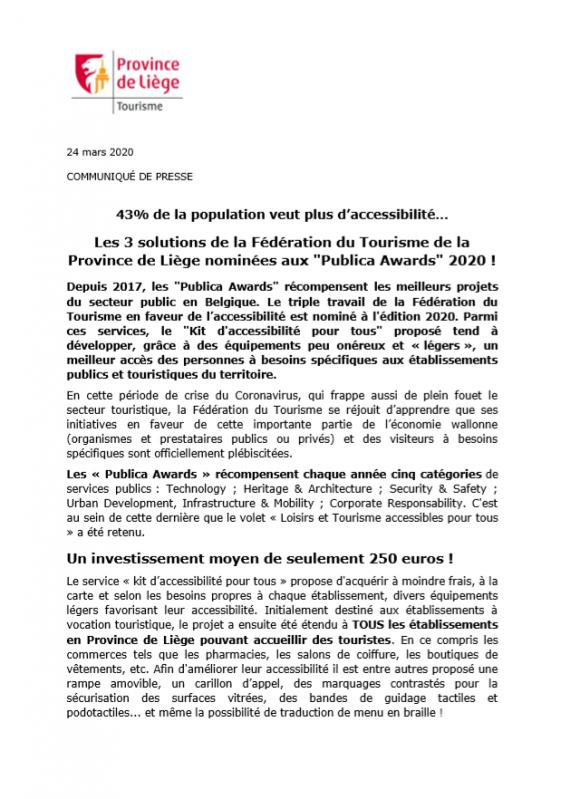 La Fédération du Tourisme de la Province de Liège nominée aux Publica Awards