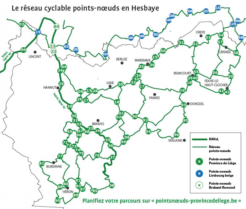Le réseau cyclable points-noeuds en Hesbaye