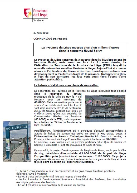 La Province de Liège investit plus d'un million d'euros dans le tourisme fluvial à Huy