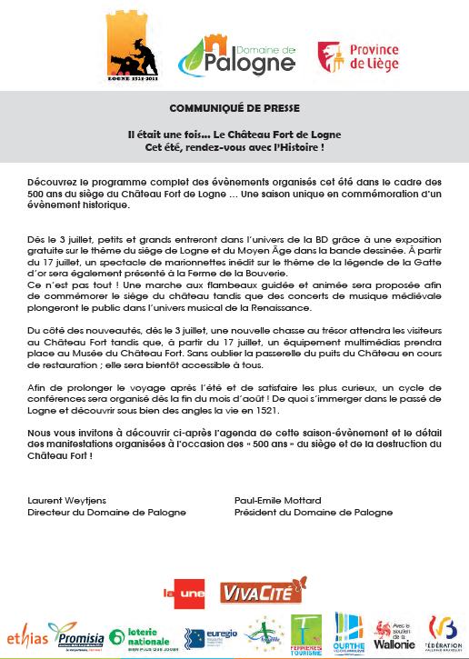 DOSSIER DE PRESSE - Logne 1521-2021 - 500 ans - Domaine de Palogne