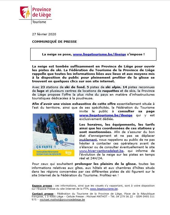Communiqué de presse - Ça farte en Province de Liège