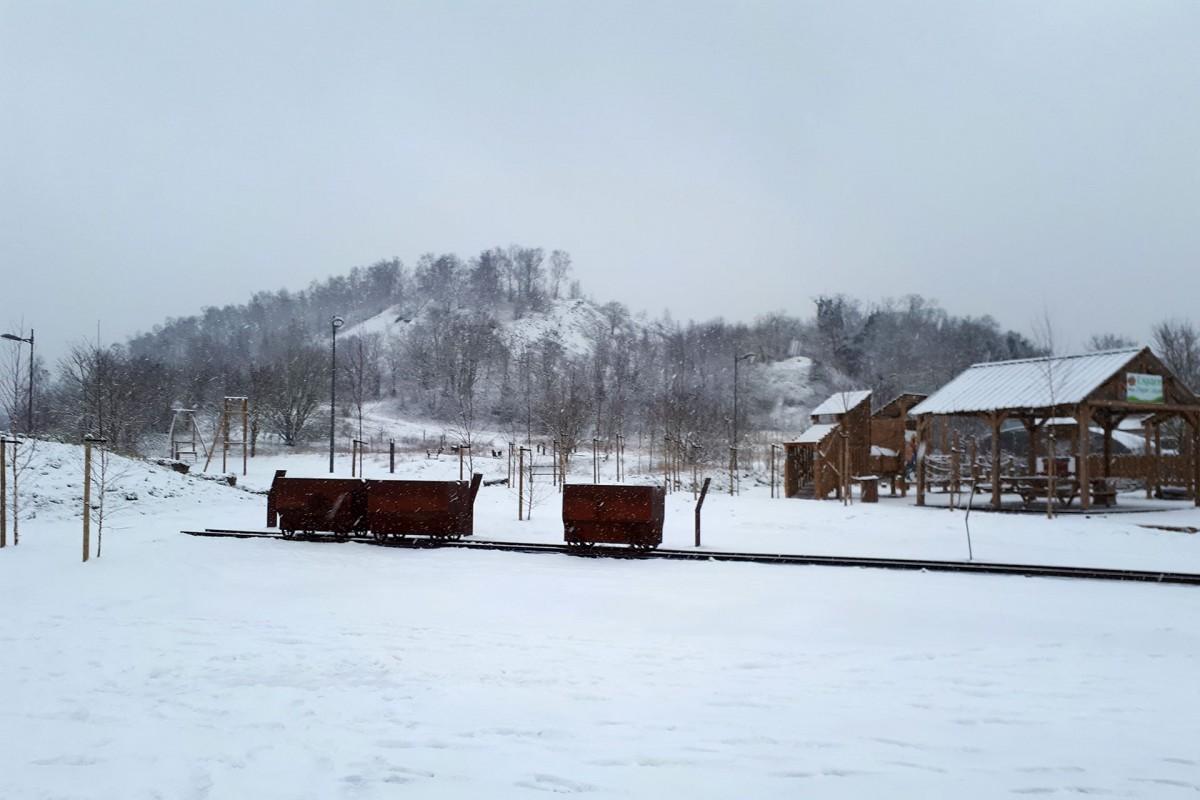 Terril du Gosson - Sous la neige - Chariot