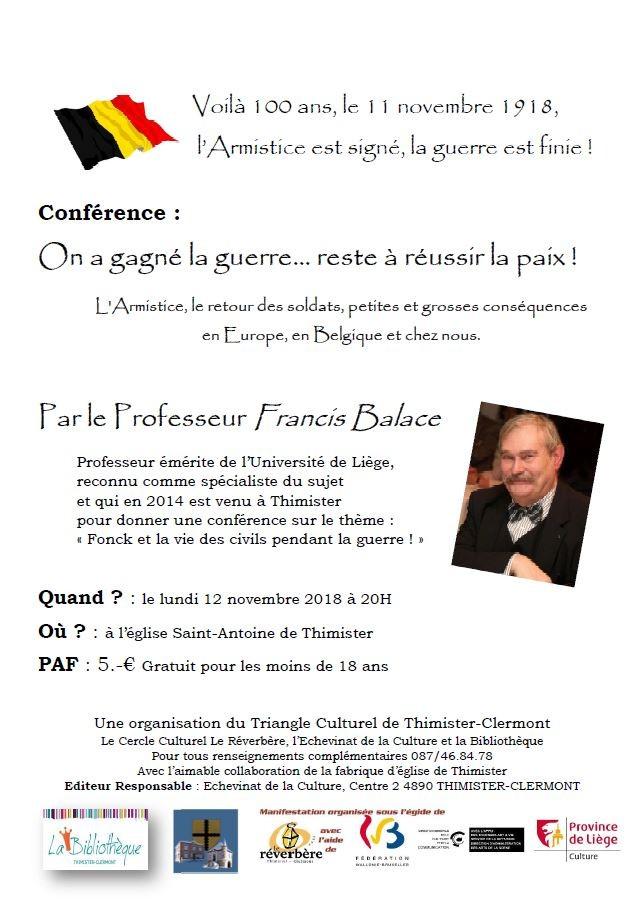 Affiche conférence francis balace