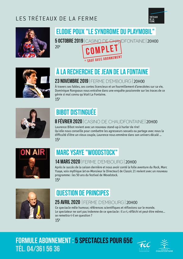 Cycle des Tréteaux 2019 -2020 - Chaudfontaine - Programme