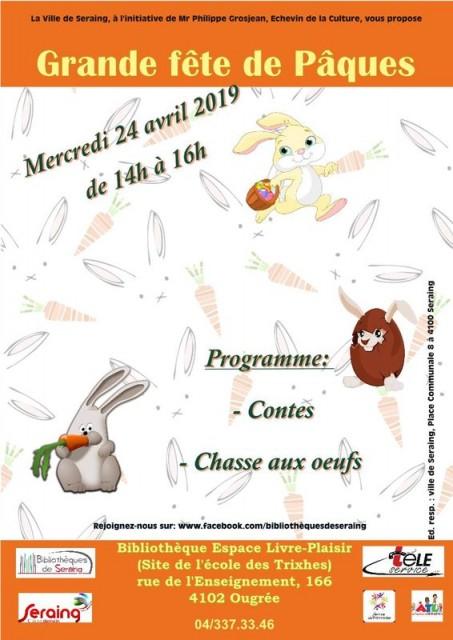 Ougrée - Grande Fête de Pâques - Affiche   © Bibliothèque Espace Libre Plaisir