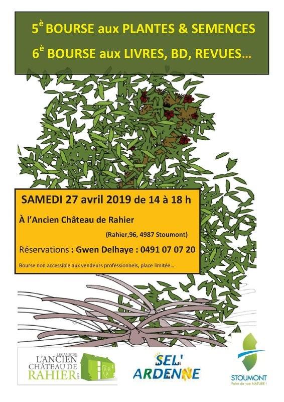 Rahier - Bourses aux plantes et livres - Affiche 2019
