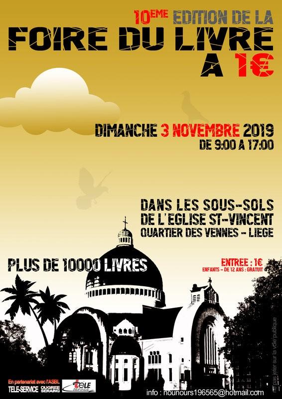 Foire du Livre à 1€ - Liège - Affiche 10e édition