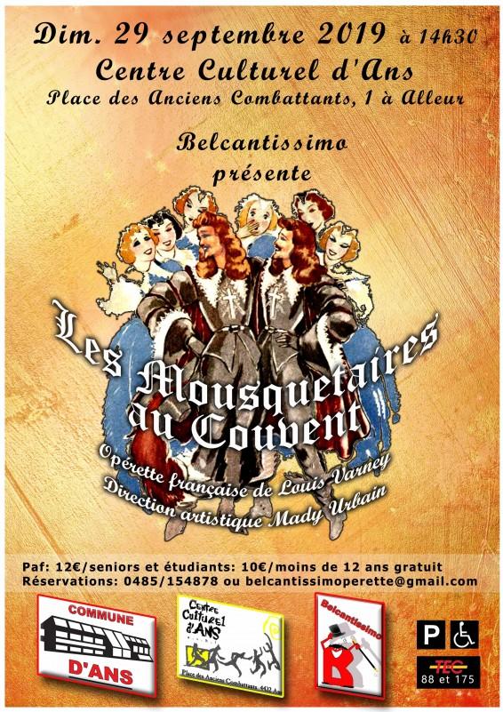 Ans - Operette - Affiche Les Mousquetaires au couvent