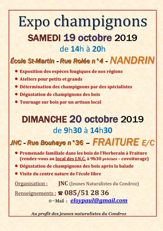 Week-end Champignons -- Nandrin - Affiche 2019