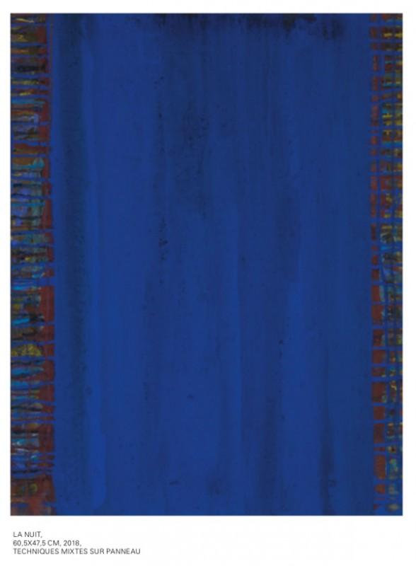 Exposition de Jean-Pierre Ransonnet - N'y voir que du bleu - Soumagne - La Nuit 60.5 x 47.5 (2018)