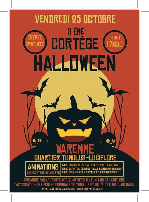 3e Grand cortège Halloween et enterrement de la Macrâle - Waremme - Affiche 2019