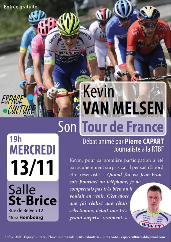 Conférence - Kévin Van Melsen raconte son Tour de France